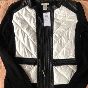 Black & white zip up Cache sweater